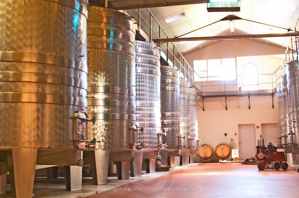 The winery - stainless steel fermentation tanks - Château Pey la Tour, previously Clos de la Tour or de Latour, Bordeaux, France