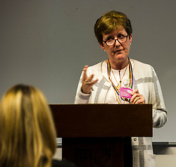 Pictured:  Professor Andrea Nolan, Convenor of Universities Scotland and Principal of Napier University<br /> Education Secretary John Swinney  joined college and university staff to launch a resource to handle gender-based violence. Fiona Drouet's daughter Emily committed suicide following being abused by a fellow student.  She started the Emily test and gathered political support for the establishment of a resource so that all students and staff who how to repond if they or others are abused due to gender.  More than 100,000 cards have been printed featuring the national support helplines for gender-based violence and sexual harassment. They have been designed to be carried constantly by staff, to enable them to quickly refer any victims to help.