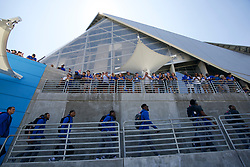Duke Blue Devils team walk prior to the Chick-fil-A Kickoff Game at the Mercedes-Benz Stadium, Saturday, August 31, 2019, in Atlanta. Alabama won 42-3. (Paul Abell via Abell Images for Chick-fil-A Kickoff)