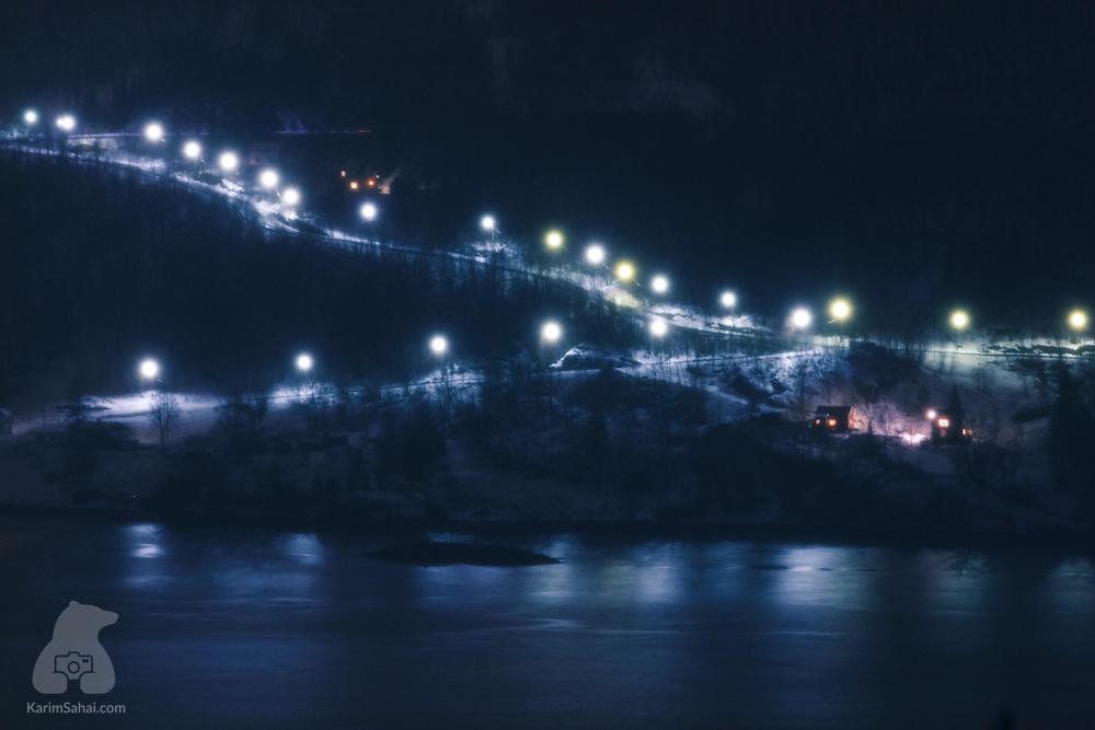 Road lights, Rombaken fjord near Narvik, Nordland, Norway
