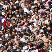 Close up aerial view of protesters in Cairo's Tahrir Square during the Day of Justice and Cleansing.
