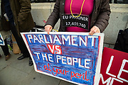 Anti -EU protesters outside the Houses of Parliament on 23rd October, 2019 in London, England, United Kingdom. The government await news from the EU granting another Brexit extension. Last night Prime Minister Boris Johnson 'paused' discussions on his EU withdrawal bill after MPs voted against the government rushing it through in three days, Speaker John Bercow described the bill as bill now being in limbo.