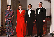 President Ronald Reagan and First Lady Nancy Reagan President De La Madrid  and Paloma Cordero Tapia of Mexico on the steps from the living quarters of the White House for a state dinner on May 15, 1984<br /> Photo by Dennis Brack