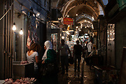 Via Dolorosa in the Old City, Jerusalem, Israel. Souvenir shops along the way