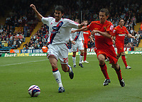 Photo: Tony Oudot/Richard Lane Photography.  Crystal Palace v Watford. Coca-Cola Championship. 09/08/2008. <br /> Danny Butterfield of Crystal Palace is chased by Jon Harley of Watfordl