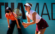 Belinda Bencic of Switzerland in action during the doubles semi-final of the Mutua Madrid Open 2021, Masters 1000 tennis tournament on May 6, 2021 at La Caja Magica in Madrid, Spain - Photo Oscar J Barroso / Spain ProSportsImages / DPPI / ProSportsImages / DPPI