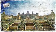 Palau Nacional, Barcelona, Spain - Forgotten Postcard, digital art collage