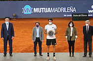 Matteo Berrettini of Italy with the runner-up trophy after the Men's Singles Final match against Alexander Zverev of Germany at the Mutua Madrid Open 2021, Masters 1000 tennis tournament on May 9, 2021 at La Caja Magica in Madrid, Spain - Photo Laurent Lairys / ProSportsImages / DPPI