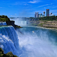 """""""Beauty of Niagara Falls""""<br /> <br /> Gorgeous powerful scene of both the American and Canadian side of Niagara Falls with a bonus of the boat Maid of the Mist in the center of the frame!<br /> <br /> Waterfalls by Rachel Cohen"""