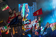 The Rolling Stones drive the crowd into a frenzy of pleasure with a fire breathing phoenix and a long encore. The 2013 Glastonbury Festival, Worthy Farm, Glastonbury. 29 June 2013.  Guy Bell, 07771 786236, guy@gbphotos.com