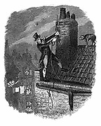 The Last Chance: Bill Sykes attempting to escape from the law over the rooftops, falls and hangs himself with his own rope. George Cruikshank illustration for Charles Dickens 'Oiliver Twist' London 1837-38. Engraving