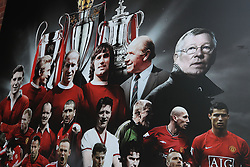A mural at Manchester United's Old Trafford football stadium in Manchester as Sir Alex Ferguson, one of the most successful football managers of all time, had surgery on Saturday for a brain haemorrhage.