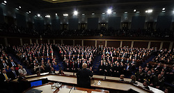 January 30, 2018 - Washington, District of Columbia, United States of America - U.S. President Donald Trump delivers his State of the Union address to a joint session of the U.S. Congress on Capitol Hill in Washington, U.S. January 30, 2018. .Credit: Jim Bourg / Pool via CNP (Credit Image: © Jim Bourg/CNP via ZUMA Wire)