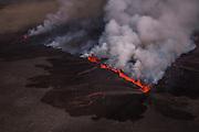 Erupting volcano in Holuhraun, Iceland