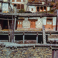 Crafted stone houses are a hallmark of Larjung, Nepal, in the Kali Gandaki Valley, Nepal