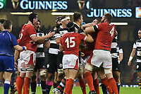 Rugby Union - 2019 / 2020 season - Wales vs. Barbarians<br /> <br /> the packs scuffle in front of referee Nigel Owens , at The Principality (Millennium) Stadium.<br /> <br /> COLORSPORT/WINSTON BYNORTH