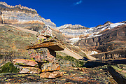 Trail marker on the Yukness Ledges Trail above Lake O'hara, Yoho National Park, British Columbia, Canada