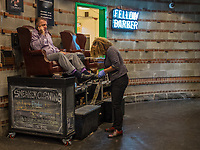Ashineandco shoe shine and sneakercleaning service at Chelsea Market in the Meat Packing District of Manhattan.