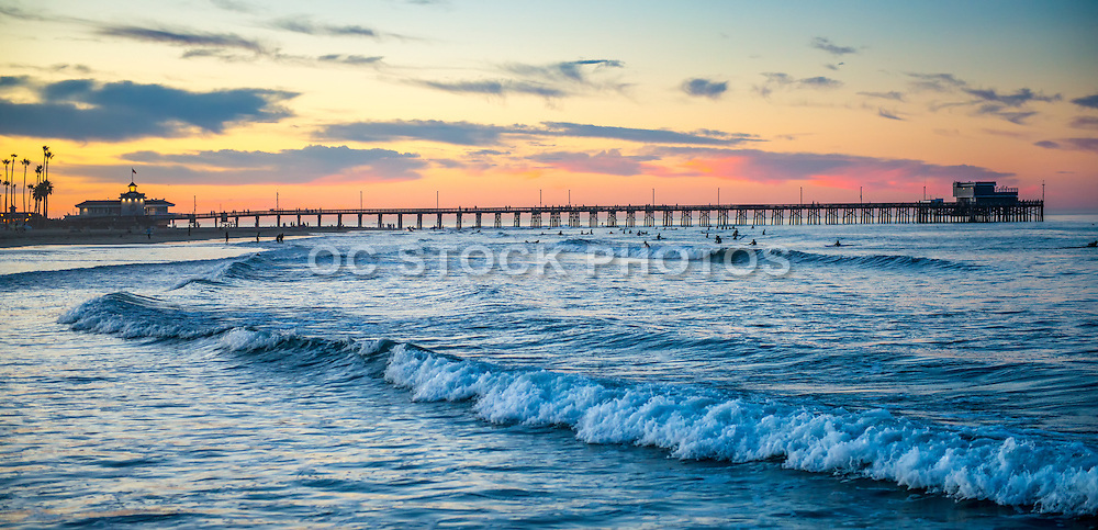 Surfing at Newport Beach Pier California