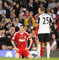 Fotball<br /> England<br /> Foto: Fotosports/Digitalsport<br /> NORWAY ONLY<br /> <br /> Jamie Carragher cannot believe his red card<br /> <br /> F.A. Barclays Premiership. Fulham v Liverpool 31.10.09