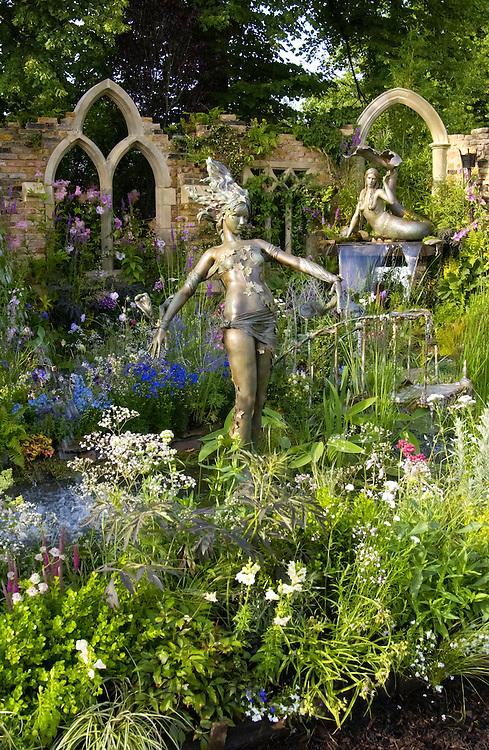 Garden design at the Hampton Court Flower Show in London, England, UK