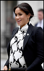 March 8, 2019 - London, United Kingdom - Duchess of Sussex visit King's College London. The Duchess of Sussex join's a panel discussion convened by The Queen's Commonwealth Trust to mark International Women's Day, at King's College London, bringing together a special panel of female thought-leaders and activists to discuss a range of issues affecting women today. (Credit Image: © Andrew Parsons/i-Images via ZUMA Press)