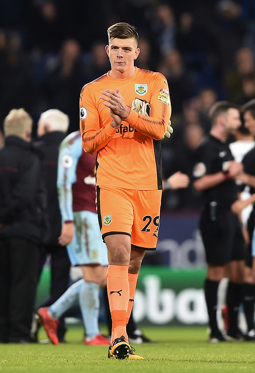 Burnley's Nick Pope applauds the Burnley supporters<br /> <br /> Photographer Jon Hobley/CameraSport<br /> <br /> The Premier League - Burnley v Tottenham Hotspur - Saturday 23rd December 2017 - Turf Moor - Burnley<br /> <br /> World Copyright © 2017 CameraSport. All rights reserved. 43 Linden Ave. Countesthorpe. Leicester. England. LE8 5PG - Tel: +44 (0) 116 277 4147 - admin@camerasport.com - www.camerasport.com