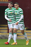 GOAL 0-1 Mohamed Elyounoussi (Celtic) celebrates his first goal of the game during the Scottish Premiership match between Motherwell and Celtic at Fir Park, Motherwell, Scotland on 8 November 2020.