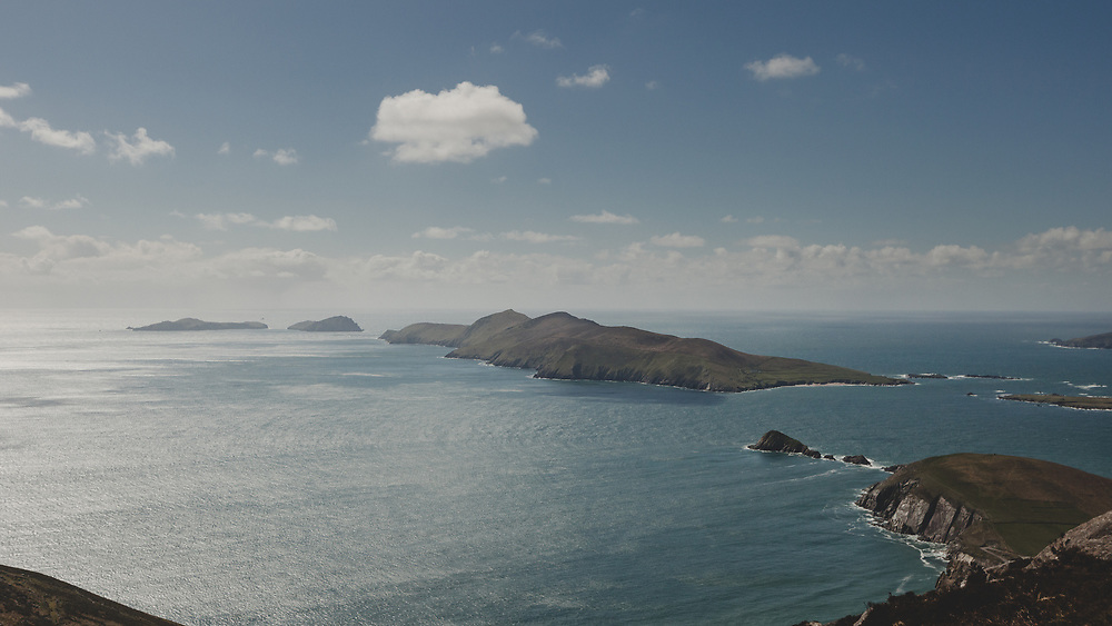 A sweeping panoramic view of Ireland's Blasket Islands.