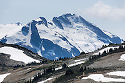 Castle Towers Mountain rises to 2676 meters elevation (8780 feet) in Garibaldi Provincial Park, south of the High Note Trail on Whistler Mountain, in British Columbia, Canada.