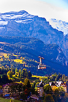 The Mannlichen cablecar in the Swiss Alps, Wengen, Canton Bern, Switzerland