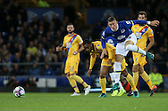 Jason Puncheon of Crystal Palace tackles Ross Barkley of Everton. Premier league match, Everton v Crystal Palace at Goodison Park in Liverpool, Merseyside on Friday 30th September 2016.<br /> pic by Chris Stading, Andrew Orchard sports photography.