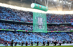 A general view of the Carabao Cup banner on display prior to the beginning of the Carabao Cup Final at Wembley Stadium, London.