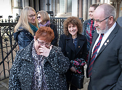 © Licensed to London News Pictures. 18/12/2019. London, UK. Relatives and survivors of the 1982 IRA Hyde Park Bomb (L-R) Lorriane Nutt, SarahJane Young, Marion Bright, Louise Tipper, Catherine Utley and Vincenzo Latino at The High Court where they and other family members have won a ruling in a civil case against convicted IRA member John Downey. The court has ruled that John Downey was an active participant in the bombing.  The Hyde Park bombing in July 1982 killed Squadron Quartermaster Corporal Roy Bright, Lieutenant Anthony Daly, Lance Corporal Jeffrey Young and Trooper Simon Tipper. Photo credit: Peter Macdiarmid/LNP
