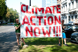 August 26, 2019, Brussels, Belgium: Demonstration of Extinction Rebellion in front of the Brazilian Embassy in Brussels, to put pressure on governments around the world and force President Bolsonaro to put an end to fires in the Amazonian forest. (Credit Image: © Reporters via ZUMA Press)