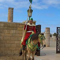Africa, Morocco, Rabat. Guard on horse.