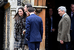 Pippa Middleton (left) and Michael Middleton (right) attend a Christmas Day service at St. Marks Church in Englefield on December 25, 2016.