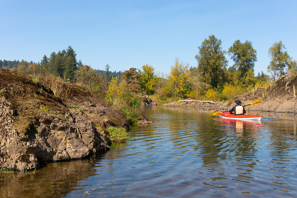 Kayaking in the Willamette Narrows, on the Willamette River in Clackamas County, Oregon