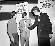 07/01/1977.01/07/1977.7th January 1977.The Aer Lingus Young Scientist Exhibition at the RDS Dublin. ..Picture shows L-R, Donald P. McDonnell from Crescent College, Dooradoyle, Co. Limerick; Kenneth Jordan, St. Mary's College, Mullingar, Co. Westmeath, both joint runners-up and the Young Scientist winner, Michael O'Briain, from Colaiste Mhuire, Cearnog Parnell. ..
