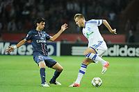 FOOTBALL - UEFA CHAMPIONS LEAGUE 2012/2013 - GROUP STAGE - GROUP A - PARIS SAINT GERMAIN v DYNAMO KIEV - 18/09/2012 - PHOTO JEAN MARIE HERVIO / REGAMEDIA / DPPI - Andriy Yarmolenko (KIEV) / Javier Pastore (PSG)