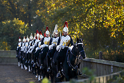 November 2, 2016 - London, London, UK - London, UK. Members of The Household Cavalry practise in Hyde Park, London as temperatures in the capital drop as low as 3C on Wednesday, 2 November 2016. (Credit Image: © Tolga Akmen/London News Pictures via ZUMA Wire)
