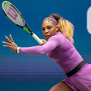 2019 US Open Tennis Tournament- Day Seven.  Serena Williams of the United States in action against Petra Martic of Croatia in the Women's Singles round four match on Arthur Ashe Stadium during the 2019 US Open Tennis Tournament at the USTA Billie Jean King National Tennis Center on September 1st, 2019 in Flushing, Queens, New York City.  (Photo by Tim Clayton/Corbis via Getty Images)