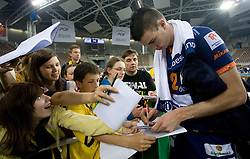 Alen Pajenk of ACH with fans after the 2nd Semifinal match of CEV Indesit Champions League FINAL FOUR tournament between ACH Volley, Bled, SLO and Trentino BetClic Volley, ITA, on May 1, 2010, at Arena Atlas, Lodz, Poland. Trentino defeated ACH 3-1. (Photo by Vid Ponikvar / Sportida)