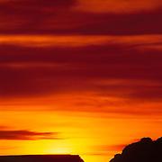 Brilliant desert sunrise over Lake Powell. Glen Canyon National Recreation Area, Arizona, Utah.