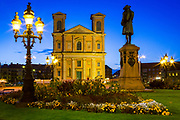 The Fredrikskyrkan church and statue of Carl XI on the Great Square in Karlskrona, Sweden<br /> .....<br /> Karlskrona is a locality and the seat of Karlskrona Municipality, Blekinge County, Sweden. It is also the capital of Blekinge County. Karlskrona is known as Sweden's only baroque city and is host to Sweden's only remaining naval base and the headquarters of the Swedish Coast Guard. The city of Karlskrona is spread over 30 islands in the eastern part of Blekinge archipelago, Trossö being the main one; another is Saltö. The islet of Stumholmen was formerly property of the Navy and today it houses the National Naval Museum (Marinmuseum). Outside the city lies the archipelago of Karlskrona, the most southern of the Swedish archipelagos. Several islands are connected to the city by ferries. The city was founded in 1680 when the Royal Swedish Navy was relocated from the Stockholm area to the Trossö island which had up until then been used chiefly for farming and grazing. At the time Sweden was the dominant military power in the Baltic sea region, but needed a better strategic location against Denmark, since southern parts of Sweden had been conquered only a few decades ago (see the Torstenson War). The Swedish fleet tended to get stuck in the ice during winter while located to Stockholm and was therefore moved south. The island had a very strategic position with short sailing distances to the German and Baltic provinces. The city name means Karl's Crown in honour of King Karl XI of Sweden, the name being inspired by the name of the city Landskrona.