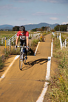 Japanese Cyclist on the Rails for Trails Tsukuba Bike Route