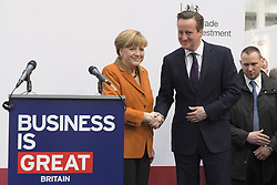 61192456<br /> Chancellor Angela Merkel and David Cameron shake hands after a speech during CeBIT 2014 Technology Trade Fair, Hanover, Germany, Monday, 10th March 2014. Picture by  imago / i-Images<br /> UK ONLY