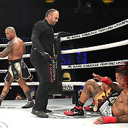 DAYTONA BEACH, FL - SEPTEMBER 11: Hector Lombard knocks out Kendall Grove during the Bare Knuckle Fighting Championships at the Ocean Center on September 11, 2020 in Daytona Beach, Florida. (Photo by Alex Menendez/Getty Images) *** Local Caption *** Hector Lombard; Kendall Grove
