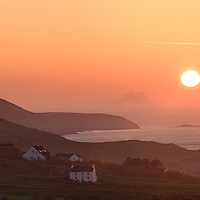 Panoramic Ballinskelligs Bay Sunset Panorama with view on The Great Skelligs, County Kerry, Ireland / sk022 I love the Skelligs, ****** <br /> <br /> Visit & browse through my Photography & Art Gallery, located on the Wild Atlantic Way & Skellig Ring between Waterville and Ballinskelligs (Skellig Coast R567), only 3 minutes from the main Ring of Kerry road.<br /> https://goo.gl/maps/syg6bd3KQtw<br /> <br /> ******<br /> <br /> Contact: 085 7803273 from an Irish mobile phone or +353 85 7803273 from an international mobile phone