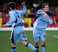Photo:  Frances Leader.<br /> Watford v Coventry City. Coca Cola Championship. <br /> Vicarage Road Stadium<br /> 05/03/2005<br /> Coventry's Michael Doyle celebrates his scoring the third goal against Watford.